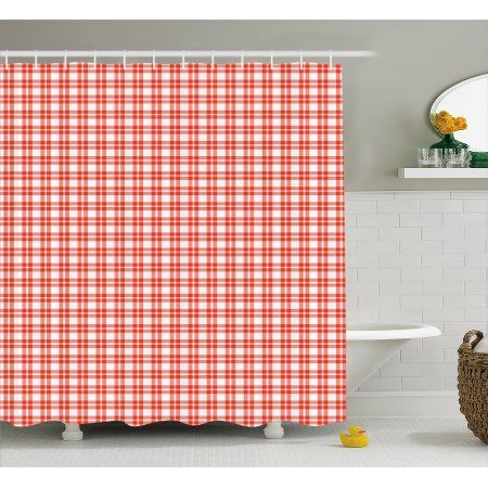 Plaid Shower Curtain Colored And Checkered Country Picnic Pattern