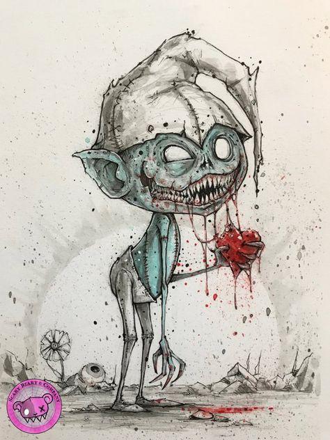 Zombie Smurf - Inktober 2018 - original art