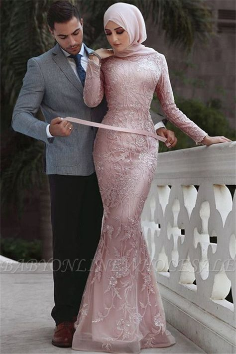10117cd2196 High Quality Satin Long Sleeve Muslim Bridesmaid Dresses With Hijab Lace  Applique Sheath in 2019