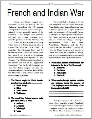 7th Grade World History Worksheets the French and Indian War 7th grade world history worksheets