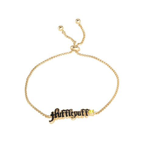 Harry Potter Officially Licensed Hufflepuff House Silver Plated Lariat Bracelet, 9.5
