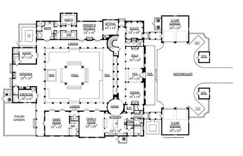 Image Result For Italian Villa Floor Plans Luxury Plan Floor Plans Courtyard Pool