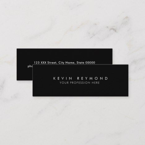 Minimal Basic Simple Black Professional Mini Business Card Zazzle Com Mini Business Card Unique Business Cards Business Card Size