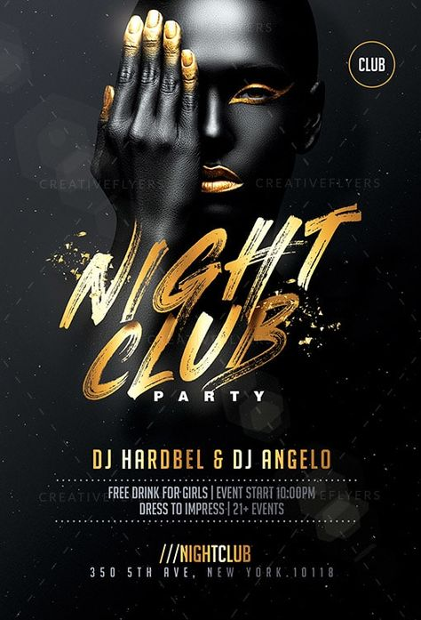 Black and Gold Club Flyer & Poster Template - Creative Flyers