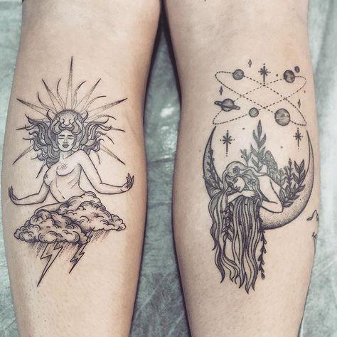 Sun & moon tattoo
