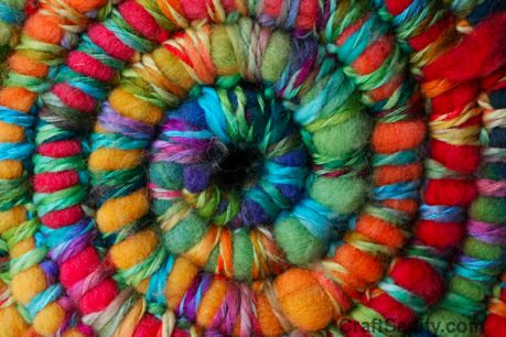 crocheted basket - rainbow roving crocheted with rainbow yarn