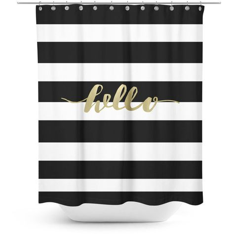 Black And White Striped Shower Curtain With Gold Typography 72 Liked On
