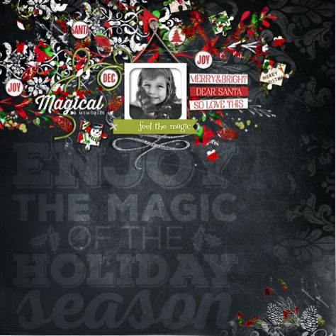 Love the #chalkboard style of this #scrapbook page by Brenda at #designerdigitals #christmas #december
