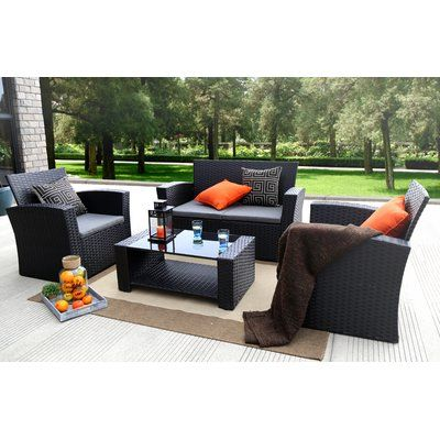 Reordan 4 Piece Sofa Seating Group With Cushions Frame Color Black Outdoor Sofa Sets Patio Cushions Patio Furniture Sets