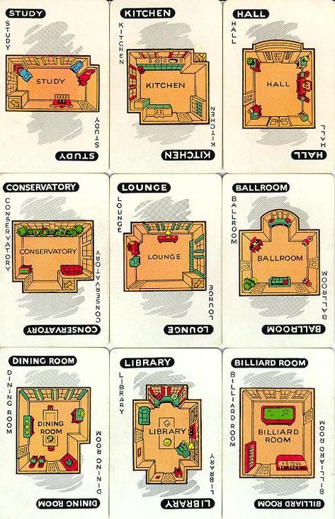 Room Cards C 1949 Clue Games Mystery Dinner Party Clue Board Game