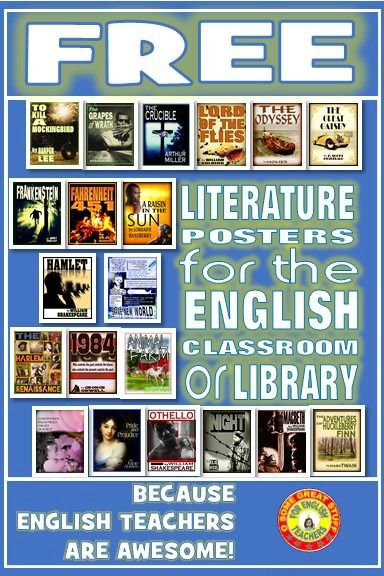 Literature posters for the english classroom | Book clubs