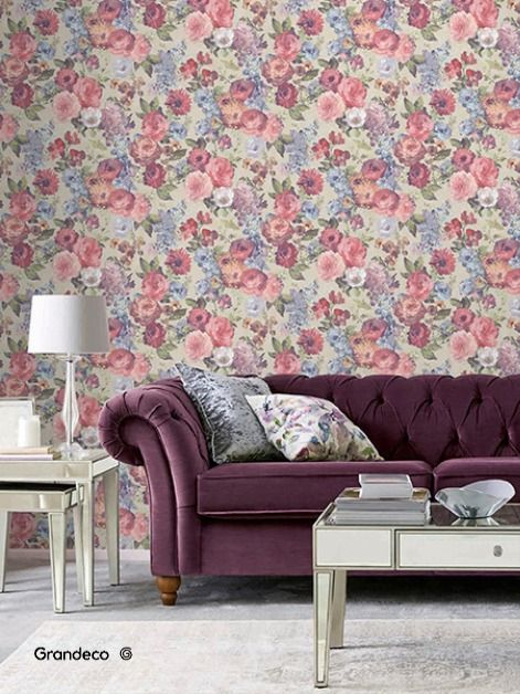 Focal Wall Living Room Floral Wallpaper in 2020