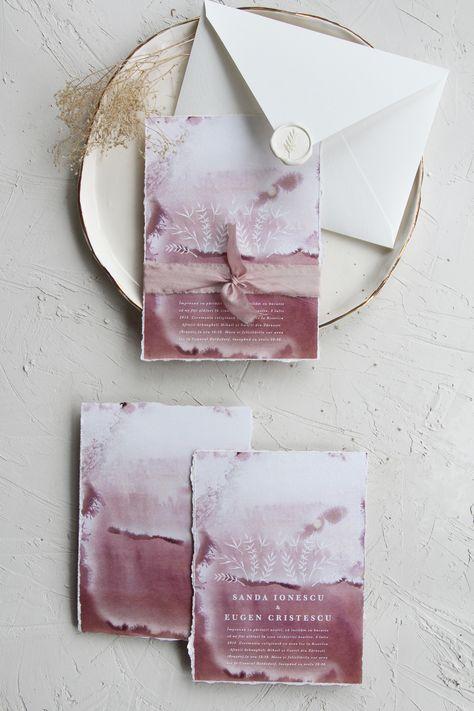 Romantic watercolor illustrated deckled edge wedding invitation with handmade envelope and white wax seal / © PAPIRA invitatii de nunta personalizate