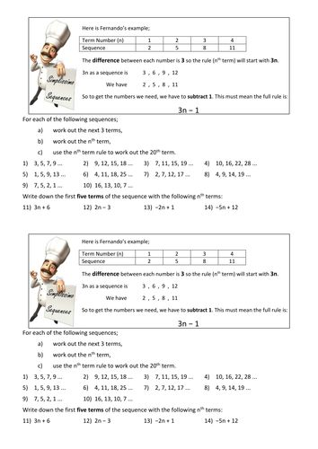 Finding The Nth Term Worksheet Ks3 Gcse Teaching Resources Ks3 Maths Ks3 Maths Worksheets Teaching Resources