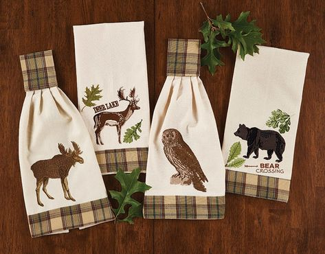 Sequoia Embroidered Owl Rustic Country Cotton Kitchen Hand Towel