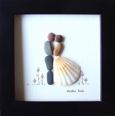 Pebble Art Wedding, 5 by 5, Wedding Gifts Idea, Bride and Groom Pebble Picture, ... -  Pebble Art Wedding, 5 by 5, Wedding Gifts Idea, Bride and Groom Pebble Picture, Creative Unique Gif - #art #bride #Gifts #glassesframes #goldennecklake #Groom #Idea #jewelrydiyeasy #pebble #Picture #wedding #wirewrappedjewelry