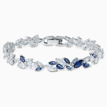 Louison Bracelet Blue Rhodium Plated In 2020 Swarovski Bracelet Blue Bracelet Wedding Swarovski Jewelry