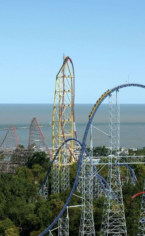 The three tallest coasters at the world-famous Cedar Point: Millennium Force (foreground), Top Thrill Dragster (centre) and Magnum (background) - all awesome rides!