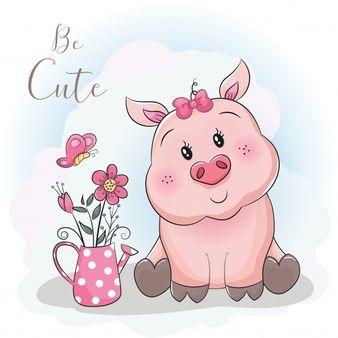 Porco Bonito Dos Desenhos Animados E Flor Com Fundo Do Ceu Pig Cartoon Cute Cartoon Cute Piggies