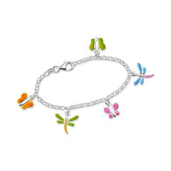 96359fa862372 Child's Enamel Butterfly and Dragonfly Charm Bracelet in Sterling ...