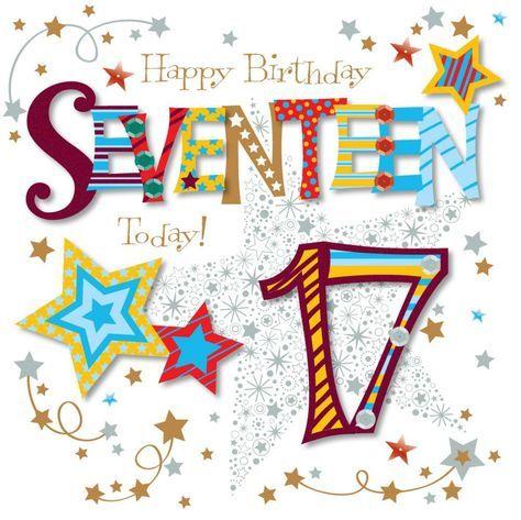 "Fun /""17th/"" Birthday Card Girl/'s Modern"