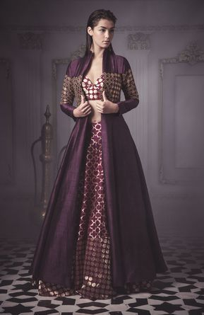 aubergine jacket lehenga (With images) | Designer dresses indian ...