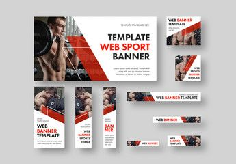 10 Fitness Health Web Banners With Diagonal Red Accents Affiliate Health Web Fitness Red Accents Ad Web Banner Banner Ads Design Banner