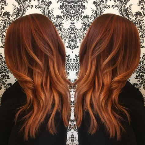 rose gold auburn balayage stylish hair #rosegoldauburnbalayage