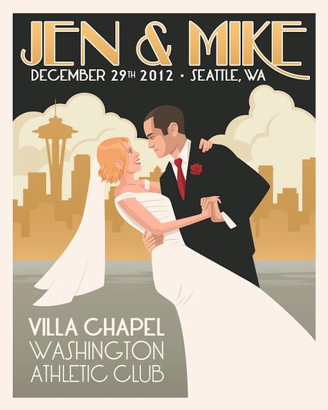 A poster like this for everyone to sign instead of a guest book?  Fits the Art Deco/Nouveau bits we are tying into the wedding