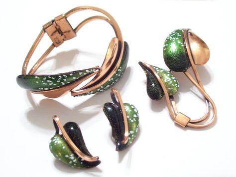 MATISSE RENOIR Leaflet Set Bracelet Pin Earrings by TheCopperCat