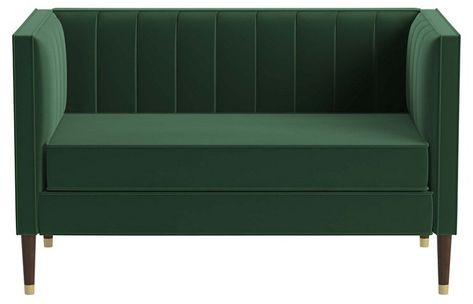 Daron Settee Emerald Velvet 995 00 Sofas For Small Spaces Couches For Small Spaces Green Velvet Tufted Sofa