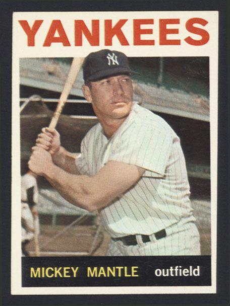 1964 Topps Baseball Card 50 Mickey Mantle Centered Sharp Fresh Yankees Newyorkyankees Baseball Card Values Mickey Mantle Old Baseball Cards