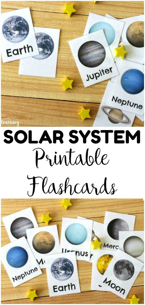 Free Printable Solar System Flashcards - Look! We're Learning! Help kids learn about the members of our solar system with these free printable solar system flashcards! These student solar system flashcards would be wonderful for a space unit study! Planets Activities, Solar System Activities, Solar System Crafts, Our Solar System, Space Theme Preschool, Space Activities For Kids, Science For Kids, Kids Printable Activities, Space Printables