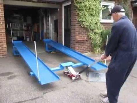 Car lift/ramps - the simple unique patented for DIY . Garage Car Lift, Mechanic Garage, Garage Tools, Car Tools, Garage Shop, Garage Workshop, Mechanic Shop, Garage Organization, Garage Storage