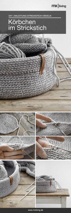 Häkeln in Strickoptik! Die Anleitung findet ihr auf dem Blog. #häkeln #crochet #utensilo #Selbermachen #diy #wolle