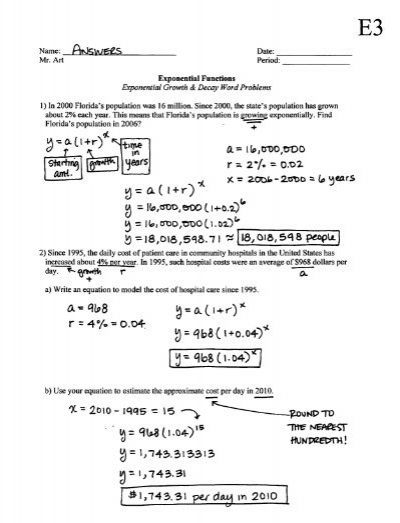 Exponential Functions Growth Decay Worksheet E3 Answers In 2020