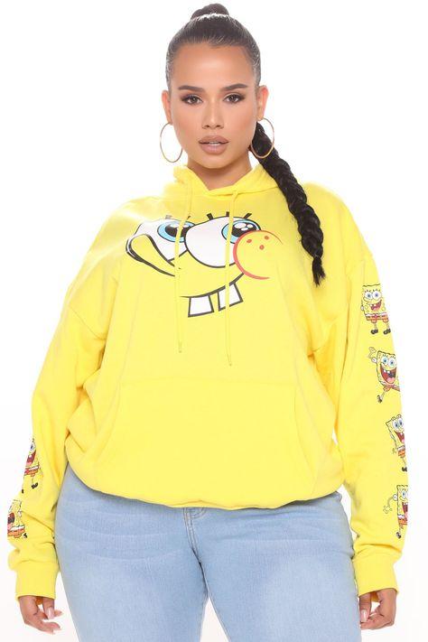 Womens Spongebob Hoodie in Yellow Size Small by Fashion Nova