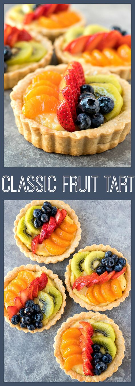 Classic Fruit Tarts - Rich vanilla pastry cream is filled into a buttery mini tart shell and covered with fresh fruit #recipe #tart #fruit #strawberry #french #bakery #pastry #dessert #fruit #easter #holidays