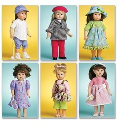 """McCALL/'S PATTERN M6370 FOR AMERICAN GIRL OR ANY 18/""""DOLL"""
