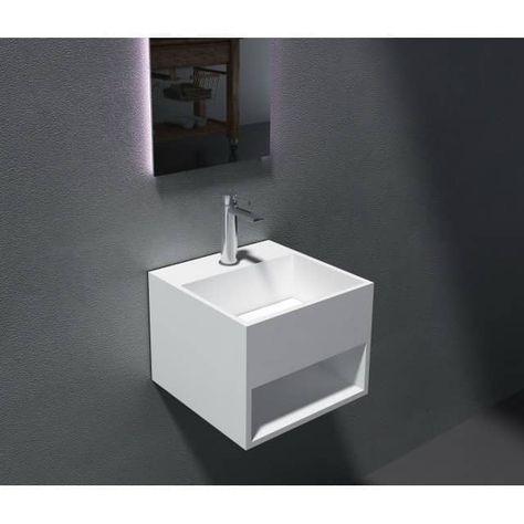 Lavabo Suspendu Avec Espace De Rangement Pb2035 32 5 X 32 5 X 25cm En Resine De Synthese Solid Stone Bernstein Badsho Lavabo Suspendu Lavabo Vasque Design