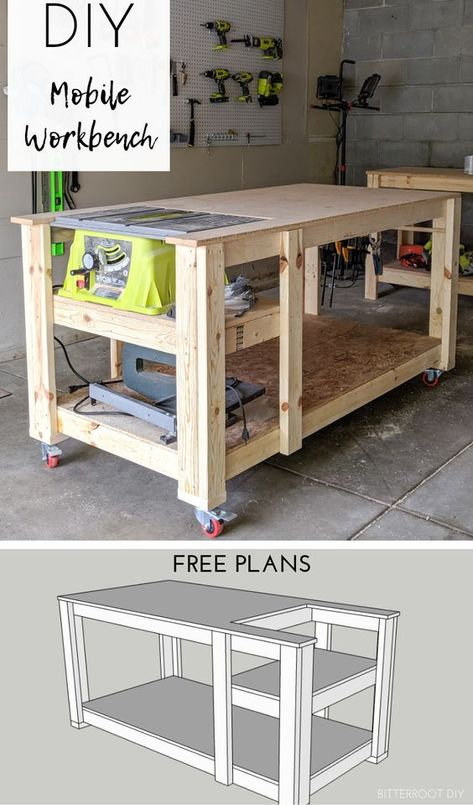 Mobile workbench with table saw Bitterroot DIY mobile table woodworking wo .Mobile workbench with table saw Bitterroot DIY mobile table woodworking woodworking machine woodworking plans 49 Free DIY Workbench plans and ideas to start your Table Saw Workbench, Woodworking Workbench, Easy Woodworking Projects, Woodworking Furniture, Diy Wood Projects, Workbench Ideas, Garage Workbench, Woodworking Techniques, Woodworking Shop