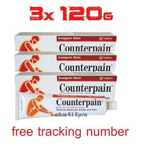 3x120g COUNTERPAIN HOT ANALGESIC BALM Warm Muscular Aches pain Heat