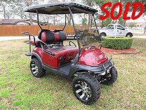 Lifted 2015 Burgundy Metallic Club Car Precedent High Speed Electric 4 Seater Golf Cart Golf Carts Golf Carts For Sale Electric Golf Cart