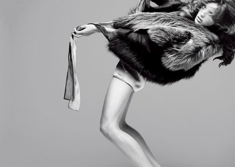 Daria Werbowy by Nathaniel Goldberg styled by George Cortina | fashion editorial | fur | back bend | posing | high fashion | show |