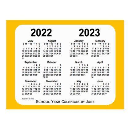 Mini 2022 Calendar.2022 2023 Gold Mini School Year Calendar By Janz Postcard Calendars 2019 Personalized Calendar School Year Postcard Custom Calendar