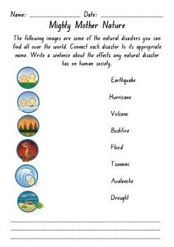 Natural Disaster Labeling Activity Labeling Activities Natural Disasters Activities
