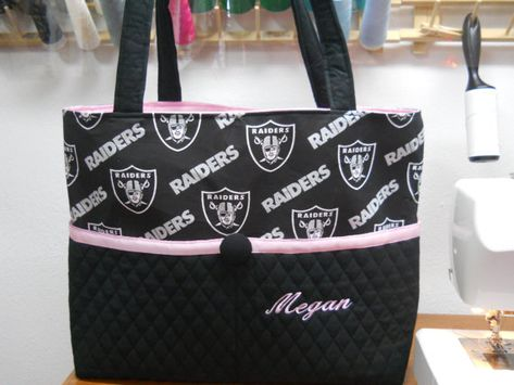 Oakland RAIDER Diaper Bag / Extra Large Tote by Bagsmadetoorder, $75.00