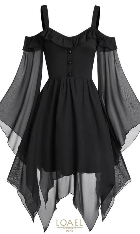 They are beautiful, lovable and affordable. You deserve it! Butterfly Sleeve Cold Shoulder Lace-up Handkerchief Gothic dress-Gothic dress victorian,Gothic dress elegant,Gothic dress casual,Gothic dres Elegant Dresses, Pretty Dresses, Awesome Dresses, Stylish Dresses, Vintage Dresses, Black Gothic Dress, Dress Black, Goth Dress, Lolita Dress