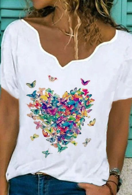 V-neck Butterfly Print Loose Short-sleeved T-shirt (sponsored)