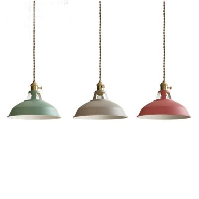 Industrial Hanging Pendant Light With Colorful Barn Shade 1 Light Hanging Pendant Lights Pendant Light Hanging Pendants